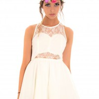 White Sleeveless Skater Dress with Lace Detail & Low Back