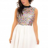 Sequin Embellished Sleeveless Dress with Chiffon Skirt