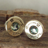 Bullet Earrings Star Line Ultra Thin Mint by ShellsNStuff