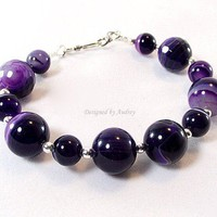 Striped Purple Agate Bracelet and Earring Set by DesignedByAudrey