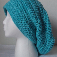 Crocheted Turquoise Slouchy Beret/Hat  Adult Size Large