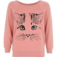 Pink cat print sweat pyjama top
