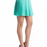 chiffon pleated skirt $29.90 in BLUE MINT ORANGE YELLOW - Seafoam Green | GoJane.com