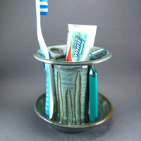 6 Slot Toothbrush Holder Green Wheel Turned Pottery Bathroom | TheMudPlace - Housewares on ArtFire