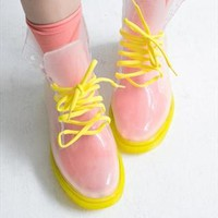 Summer Collection: Jelly Lace up Rain Boots in Yellow from AlisonSman