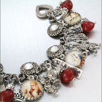Charm Bracelet Silver Jewelry Alice in by BlackberryDesigns