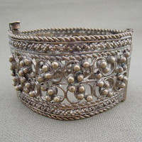 Vintage Silver Metal Berries Wire Cuff Tribal Bracelet