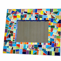 Multicolored Mosaic Accent Mirror