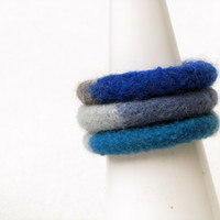 Woman blue bangles - eco-friendly - organic wool - soft jewelry - CHOOSE ONE