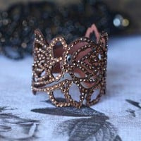 Rosey Cutout Rhinestone Faux Leather Brown Bracelet