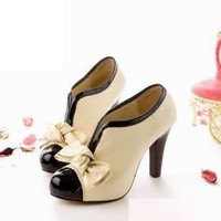 Sexy Lady Beige Bow Pump Shoes Platform Women High Heel (US8-AU8-UK6-EURO39)