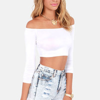 Half the Battle Off-the-Shoulder White Crop Top