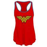 Wonder Woman - Logo Red Racerback Juniors Tank Top | OldGlory.com