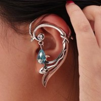 Small Snake Ear Cuff Wrap Gothic Earring Stud w/ Dangle Bead for Left Ear