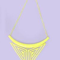 Green Cut Out Tribal Triangle Necklace at Fashion Union