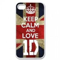 Apple iPhone 4 4G 4S KEEP CALM AND LOVE 1D ONE DIRECTION WHITE Sides Slim HARD Case Skin Cover Protector Accessory Vintage Retro Unique AT&T Sprint Verizon Virgin Mobile:Amazon:Cell Phones & Accessories
