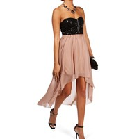 BlackTaupe Sequin Zipper Hi Lo Dress