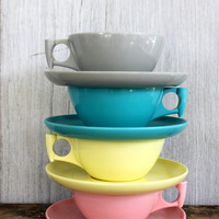 melamine rainbow // atomic spaulding ware melamine // 4 cups and 4 saucers