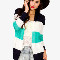 Open Knit Colorblocked Cardigan
