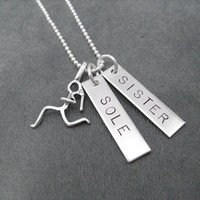 STERLING SILVER SOLE SISTER 2 PENDANT Necklace with Sterling Silver pendants on Sterling Silver or Leather and Sterling Chain