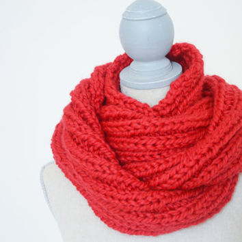 Chunky Red Knit Infinity Scarf - Ready to Ship - Bright red fall scarf - Gift for her