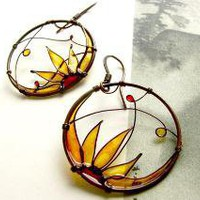 Sunflowers Round Copper Earrings by KUKLAstudio on Etsy