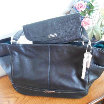 NWT Coach Park Black Leather Carrie Tote F23284/Park Leather Soft Wallet F49150
