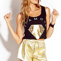 Metallic Basic Diamond Crop Top