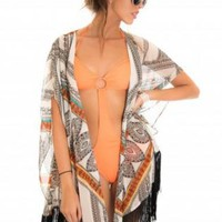 Orange Multi Color Aztec Print Kaftan with Fringe Detail