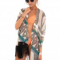 Green Multi Color Aztec Print Kaftan with Fringe Detail