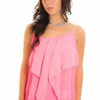 Pink Sleeveless Frill Top with Diamante Jewel Straps