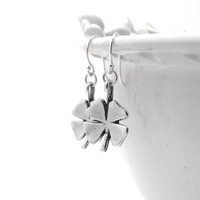 Four Leaf Clover Earrings, Sterling Silver