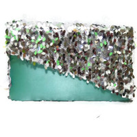 Silver Sequin Geometric Clutch - Made to Order