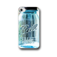 Ball Mason Jar, iPhone 5 4 4s Case, Mason Jar  Vintage Glass Blue Teal Aqua, Cell Phone Case,  Accessory  iPhone