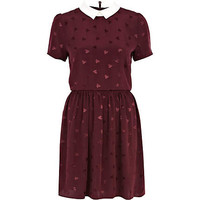 Red heart print contrast collar tea dress