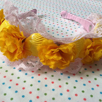 pink and yellow floral lace mermaid headband