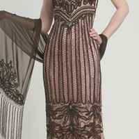 Bitter Chocolate Beaded Embroidered Elegant Prom Dress - Unique Vintage - Prom dresses, retro dresses, retro swimsuits.