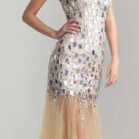 Nude Sequin & Tulle Strapless Drop Waist Prom Dress - Unique Vintage - Prom dresses, retro dresses, retro swimsuits.