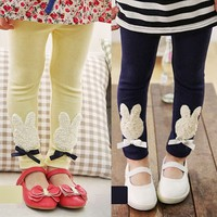 Korean Lovely Girl's Children Kids Pants Trousers Cute Rabbit Elastic Waist 1Nt