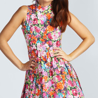 Leanne High Neck Sleeveless Floral Skater Dress