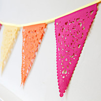 hot pink yellow and orange bunting, gorgeous bright garland, perfect birthday decor