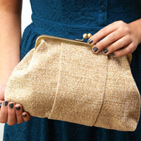 Beige clutch - vintage fabric