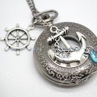Pirate anchor and wheel pocket watch necklace,Anchor and rudder wheel pendant locket watch necklace NWHZ05