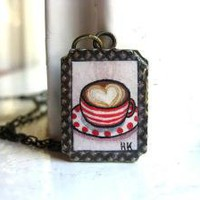I Love You Like Cappuccino Hand Painted Necklace by HeatherKent
