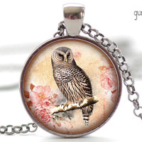 Owl Necklace, Woodland Owl Pendant, Owl Charm, Brown Owl Jewelry, Woodland Jewelry (588)