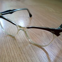 Vintage 1950s Cat Eye Glasses Brown 2013496