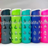 Source Hot sale Heat-resisting Pyrex sport glass water bottle with Silicon Sleeve on m.alibaba.com