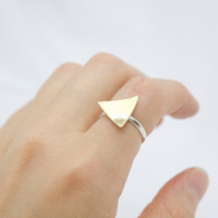 Hammered Golden Brass Triangle Sterling Silver Ring - Mixed Metal Jewelry