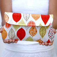 Autumn/ Fall Leaf clutch in cream. Simple clutch - bridesmaid clutch - wedding clutch