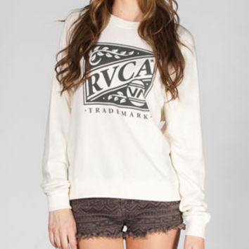 Rvca Crate Womens Sweatshirt Natural  In Sizes